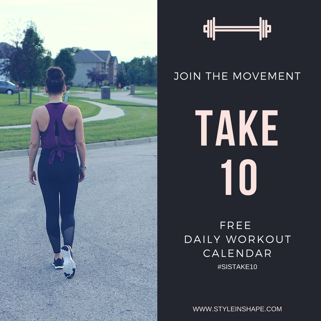 FREE 10 Minute Daily Exercise Calendar| Style In Shape